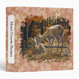 Pretty Deer and Fawn Autumn Leaves Binder