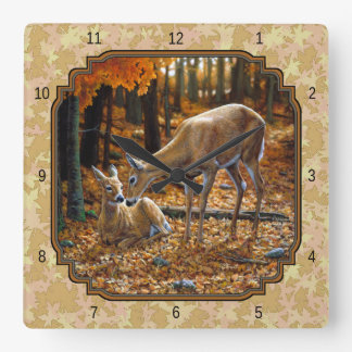 Pretty Deer and Fawn Autumn Leaves Square Wallclocks