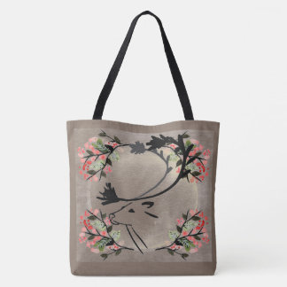 Pretty deer flower vintage look taupe  tote bag