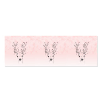 Pretty Deer head floral antlers pink ombre sketch Business Cards