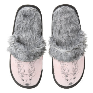 Pretty Deer head floral antlers pink ombre sketch Pair Of Fuzzy Slippers