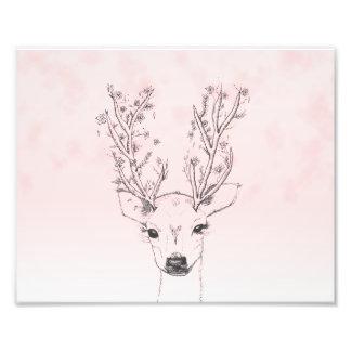 Pretty Deer head floral antlers pink ombre sketch Photo Print