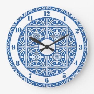 Pretty Delft Colors Blue and White Large Clock