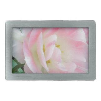 Pretty Delicate Feminine Flower White Pink Gifts Rectangular Belt Buckles