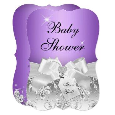 Toddler & Baby themed Pretty Diamond Bow Purple Baby Shower Invite