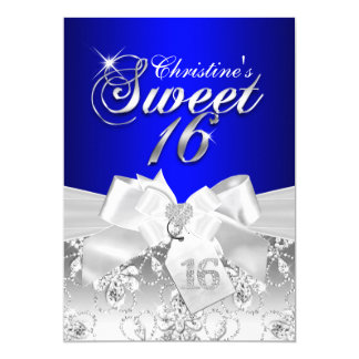 Pretty Diamond Bow Royal Blue Sweet 16 Invite
