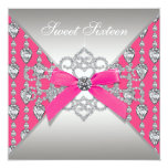 Pretty Diamond Hot Pink Birthday Party Personalized Invites