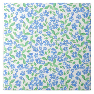 Pretty Ditsy Blue Green White Periwinkle Flowers Ceramic Tile