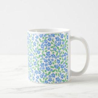 Pretty Ditsy Blue Green White Periwinkle Flowers Coffee Mug