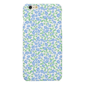 Pretty Ditsy Blue Green White Periwinkle Flowers Matte iPhone 6 Plus Case