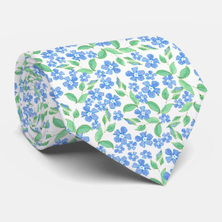 Pretty Ditsy Blue Green White Periwinkle Flowers Tie