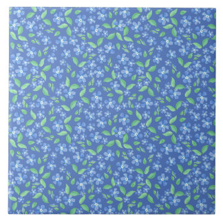 Pretty Ditsy Periwinkle Blue Green Floral Pattern Tile