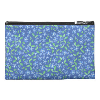 Pretty Ditsy Periwinkle Blue Green Floral Pattern Travel Accessory Bag