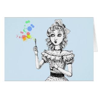 Pretty doll and Rainbow bubbles Card