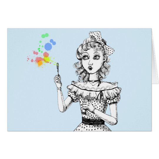 Pretty doll and Rainbow bubbles Card