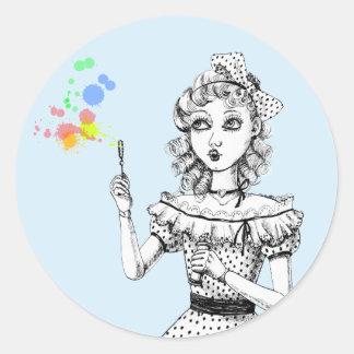 Pretty doll and Rainbow bubbles Classic Round Sticker