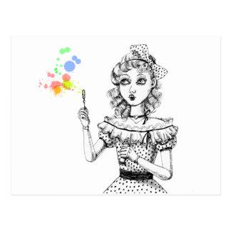 Pretty doll and Rainbow bubbles Postcard