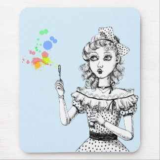 Pretty doll rainbow Bubbles Mouse Pad