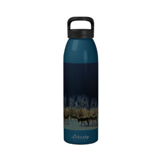 Pretty Donkey Herd Rural Scene Nightscape Western Drinking Bottle