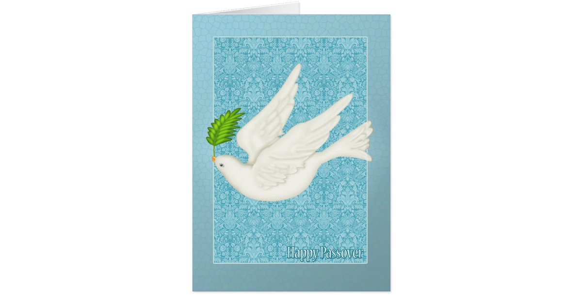 Pretty Dove For Passover With Olive Leaf Card