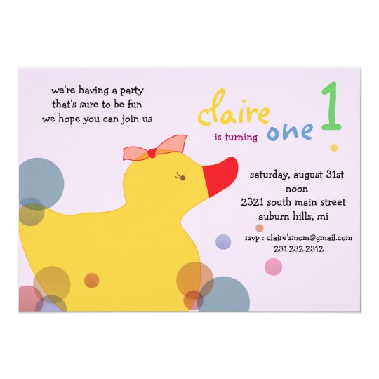 Pretty Ducky - pink birthday invitations