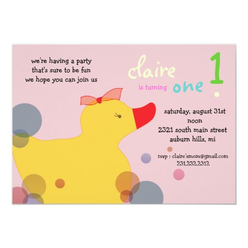 Pretty Ducky - purple  birthday invitations