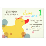Pretty Ducky - yellow  birthday invitations