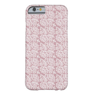 Pretty Dusky Pink White Lace Pattern Barely There iPhone 6 Case