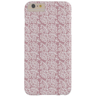 Pretty Dusky Pink White Lace Pattern Barely There iPhone 6 Plus Case