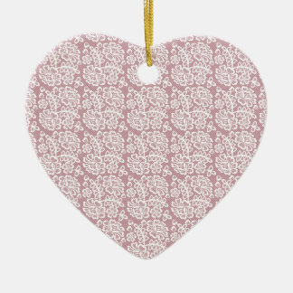 Pretty Dusky Pink White Lace Pattern Ceramic Ornament