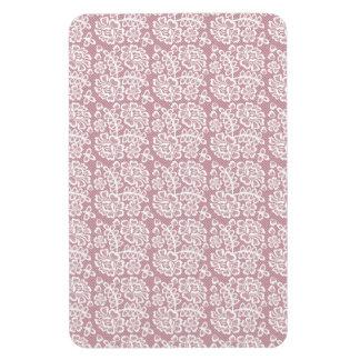 Pretty Dusky Pink White Lace Pattern Magnet