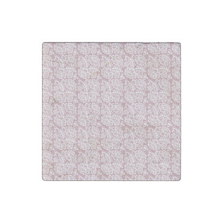 Pretty Dusky Pink White Lace Pattern Stone Magnet