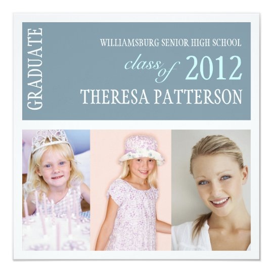Pretty Dusty Blue Photo Collage Graduation Party Card