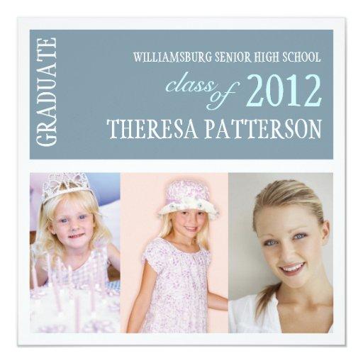 Pretty Dusty Blue Photo Collage Graduation Party Personalized Invites