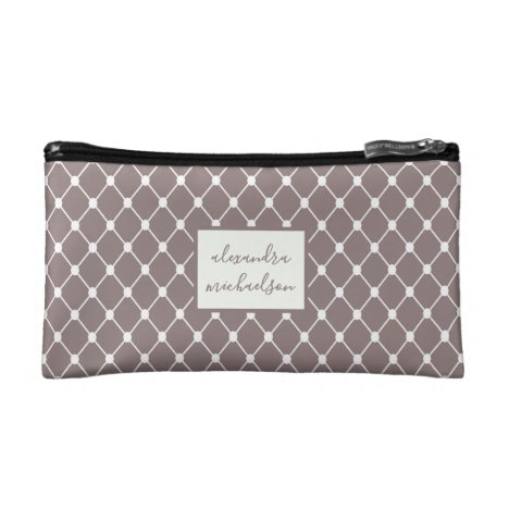 Pretty Dusty Rose with White Geometric and Name Cosmetic Bag