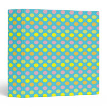 Pretty Easter Coloured Polka Dots on Blue Binder
