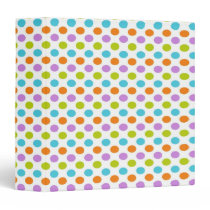Pretty Easter Coloured Polka Dots on White Binder