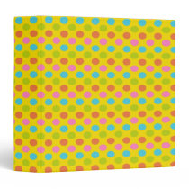 Pretty Easter Coloured Polka Dots on Yellow 3 Ring Binder