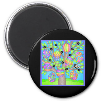 Pretty Easter Tree 2 Inch Round Magnet