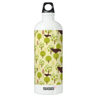 Pretty Elegant Birds in Leaf Treetops Pattern Aluminum Water Bottle
