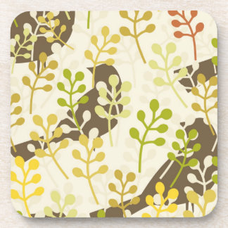 Pretty Elegant Birds in Leaf Treetops Pattern Drink Coaster