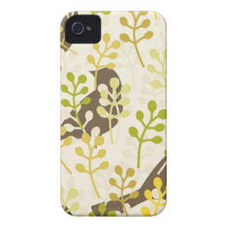 Pretty Elegant Birds in Leaf Treetops Pattern iPhone 4 Case-Mate Case