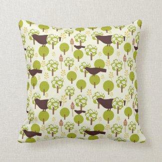 Pretty Elegant Birds in Leaf Treetops Pattern Pillow