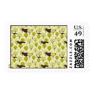 Pretty Elegant Birds in Leaf Treetops Pattern Postage Stamp