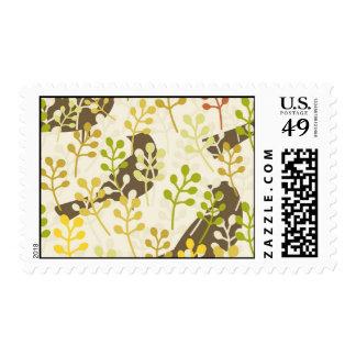 Pretty Elegant Birds in Leaf Treetops Pattern Stamps