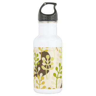 Pretty Elegant Birds in Leaf Treetops Pattern Stainless Steel Water Bottle