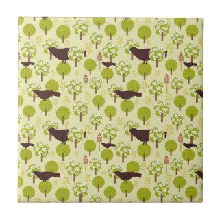Pretty Elegant Birds in Leaf Treetops Pattern Tile