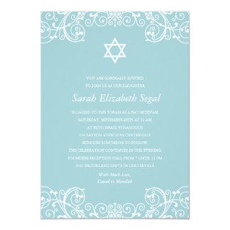 Pretty Elegant Blue Bat Mitzvah Card