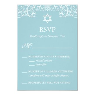 Pretty Elegant Blue Bat Mitzvah RSVP Card