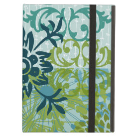 Pretty Elegant Blue Green Floral Damask Pattern iPad Case